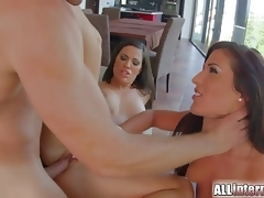 All Internal Two gorgeous brunettes share vaginal creampie