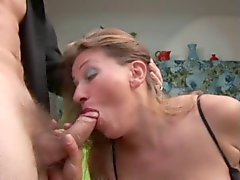 Mature gets her ass fucked and cum on her tits