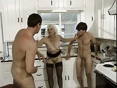 Horny granny and two lucky guys